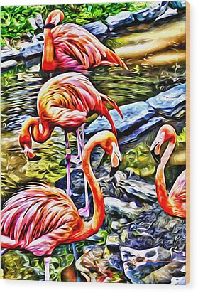 Four Pink Flamingos Wood Print