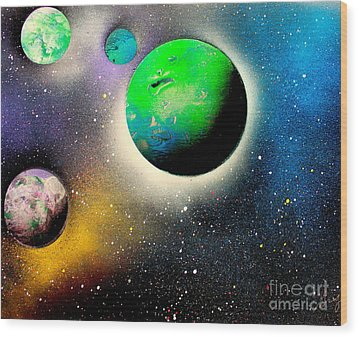 Four Planets 02 E Wood Print by Greg Moores