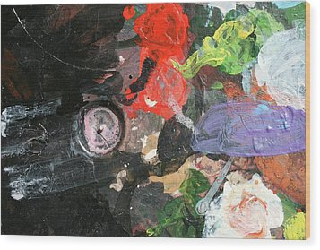 Wood Print featuring the painting Four Roses Abstract by Melinda Saminski