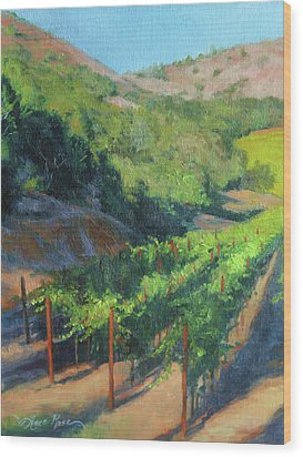 Four Rows Napa Valley Wood Print by Anna Rose Bain
