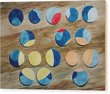 Four Rows Of Circles On Wood Wood Print