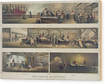 Four Scenes In A Pork Packing House Wood Print by Everett