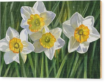 Four Small Daffodils Wood Print by Sharon Freeman