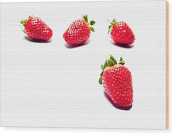 Four Strawberries Wood Print
