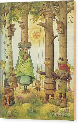 Four Trees Wood Print by Kestutis Kasparavicius