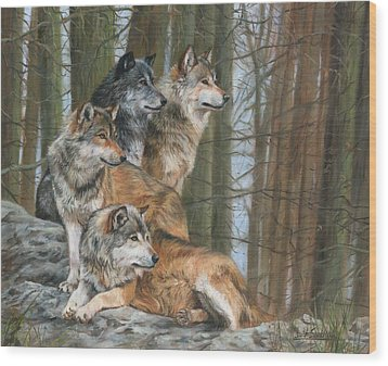 Wood Print featuring the painting Four Wolves by David Stribbling