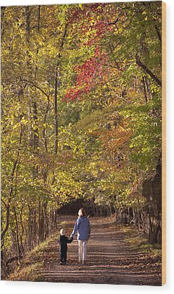Four Year Old Boy And His Mom Walk Hand Wood Print by Skip Brown
