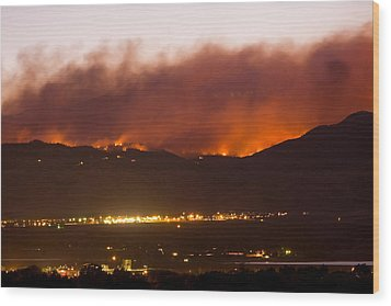 Fourmile Canyon Fire Burning Above North Boulder Wood Print by James BO  Insogna