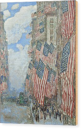 Wood Print featuring the painting Fourth Of July, 1916 by Frederick Childe Hassam