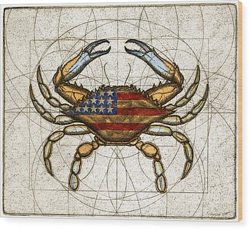 Fourth Of July Crab Wood Print by Charles Harden