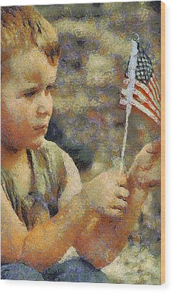 Fourth Of July Wood Print by Elaine Frink
