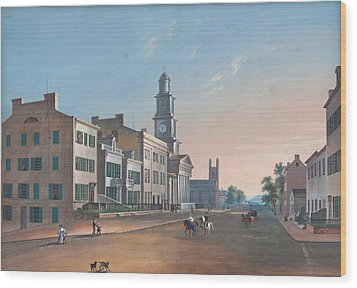 Wood Print featuring the painting Fourth Street. West From Vine by John Caspar Wild
