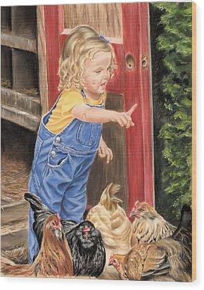 Fowl Play Wood Print by Vanda Luddy