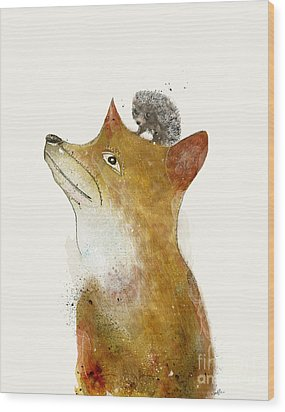 Wood Print featuring the painting Fox And Hedgehog by Bri B