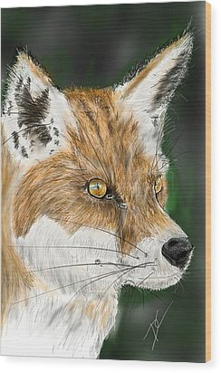 Wood Print featuring the digital art Fox by Darren Cannell