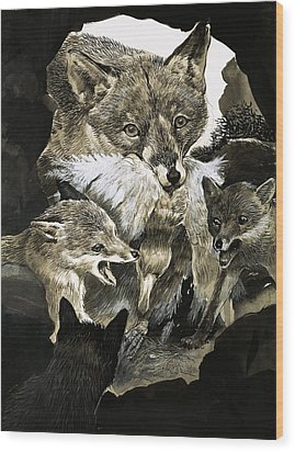 Fox Delivering Food To Its Cubs  Wood Print by English School