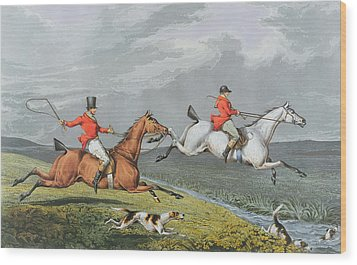 Fox Hunting - Full Cry Wood Print by Charles Bentley