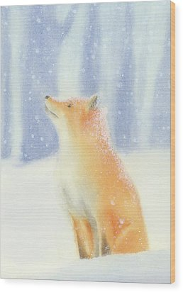 Wood Print featuring the painting Fox In The Snow by Taylan Apukovska