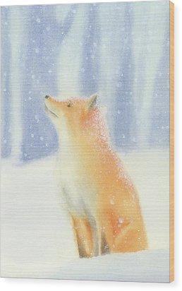 Fox In The Snow Wood Print by Taylan Apukovska