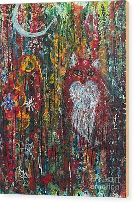 Wood Print featuring the painting Fox Magic by Julie Engelhardt
