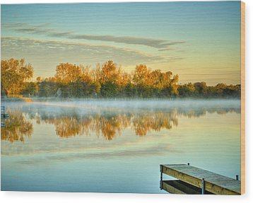 Fox River Above Mchenry Dam At Sunrise Wood Print