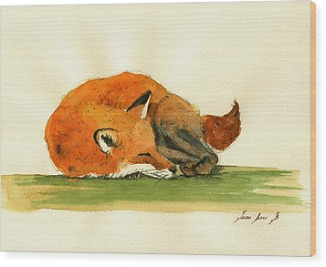 Fox Sleeping Painting Wood Print
