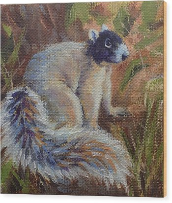 Wood Print featuring the painting Fox Squirrel by Pam Talley
