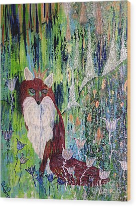 Wood Print featuring the painting Fox Tale by Julie Engelhardt