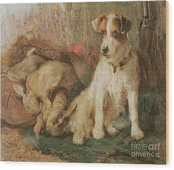 Fox Terrier With The Day's Bag Wood Print by English School