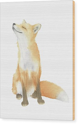 Wood Print featuring the painting Fox Watercolor by Taylan Apukovska