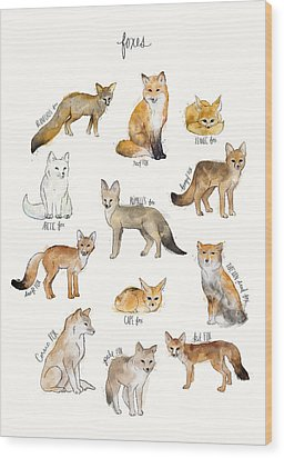 Foxes Wood Print by Amy Hamilton