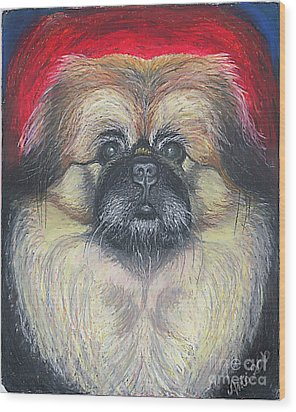 Wood Print featuring the pastel Fozy Bear Pekingese by Ania M Milo