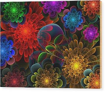 Fractal Bouquet Wood Print