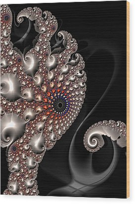 Wood Print featuring the digital art Fractal Contact - Silver Copper Black by Matthias Hauser