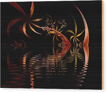 Fractal Fireworks Reflections Wood Print