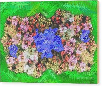 Fractal Flower Garden Wood Print by Diamante Lavendar