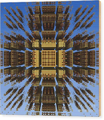 Wood Print featuring the digital art Fractal Fragments Of A Golden Box by Richard Ortolano