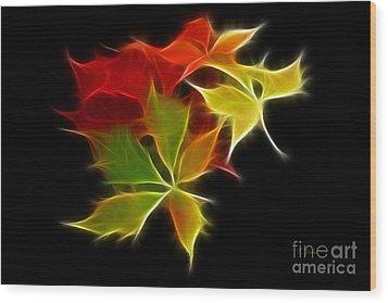 Fractal Leaves Wood Print by Teresa Zieba
