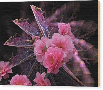 Fractal Meets Camellia  Wood Print