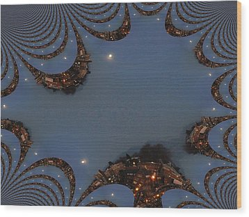 Fractal Moon Wood Print by Tim Allen