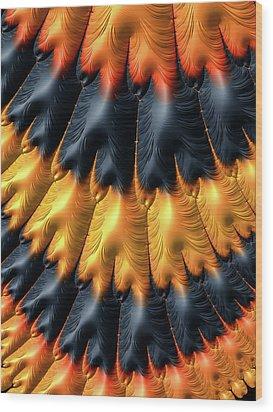 Wood Print featuring the digital art Fractal Pattern Orange And Black by Matthias Hauser