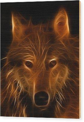 Fractal Wolf Wood Print