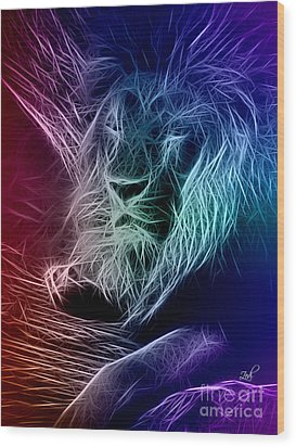 Fractalius Lion Wood Print