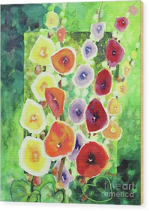 Wood Print featuring the painting Framed In Hollyhocks by Kathy Braud