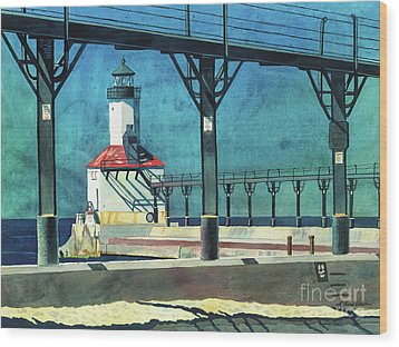 Framed Lighthouse Wood Print by LeAnne Sowa