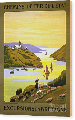 France Bretagne Vintage Travel Poster Restored Wood Print