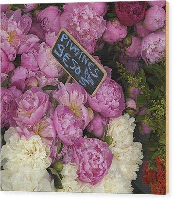 France, Paris Peonies Flowers Wood Print by Keenpress