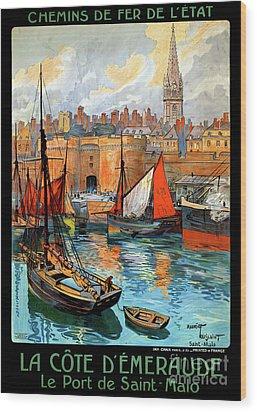 France Saint Malo Restored Vintage Travel Poster Wood Print by Carsten Reisinger
