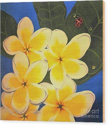 Frangipani With Lady Bug Wood Print by Sandra Phryce-Jones