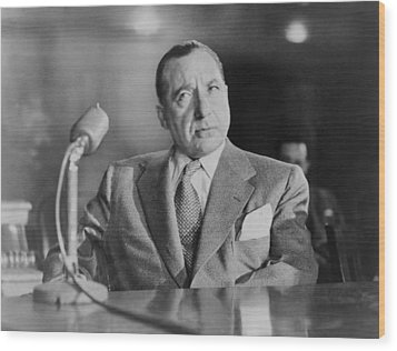 Frank Costello 1891-1973, Testifying Wood Print by Everett